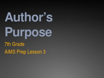 Author's Purpose Overview PowerPoint