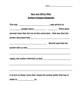 Author's Purpose Paragraph Aero and Officer Mike Journeys