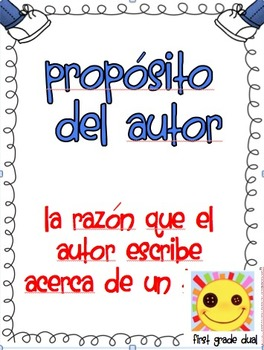 Author's Purpose  Poster In Spanish