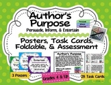 Author's Purpose Posters, Task Cards, Foldable, Test: Pers