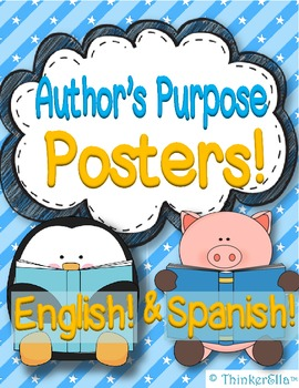 Author's Purpose Posters and Activities in English and Spa