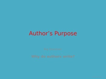 Author's Purpose Power Point with Whiteboard Check