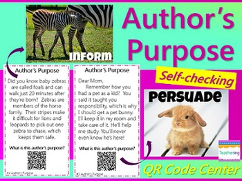 Author's Purpose Task Cards with QR Codes {Differentiated}