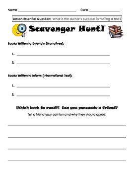 Author's Purpose - Scavenger Hunt Recording Sheet