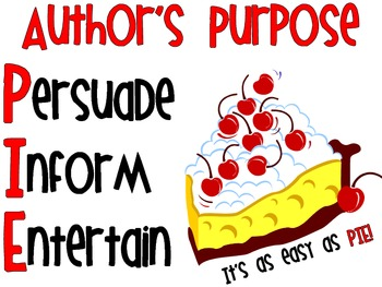 Author's Purpose- Simple PIE Poster!