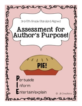 Author's Purpose PIE Assessment (3rd, 4th, 5th grades)