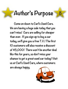 Author's Purpose Passage Examples and Task Cards