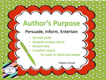 Author's Purpose Task Cards and Anchor Charts