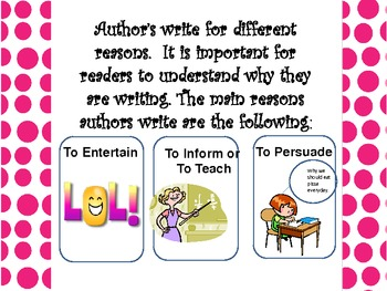 Author's Purpose Visual Poster-Supporting Core Standards