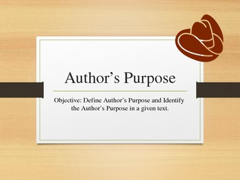 Author's Purpose - Western Style