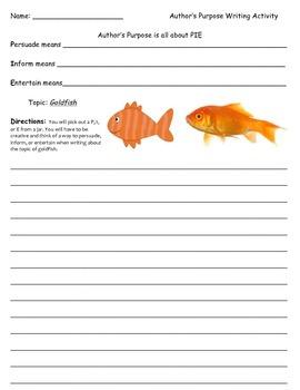 Author's Purpose Writing Activity - Goldfish