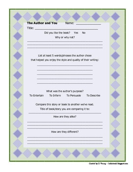 Author's Purpose and Style Graphic Organizer