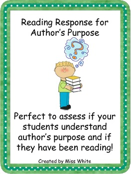 Author's Purpose for Independent Reading Response