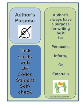 Author's Purpose Inform, Entertain, Persuade QR Code Self-