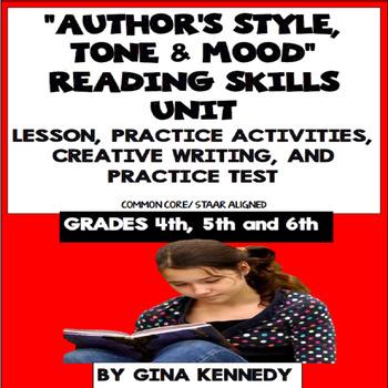 """Author's Style, Tone & Mood"" Lesson, Reading/Writing Acti"