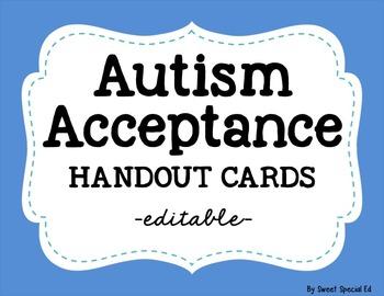 Autism Acceptance Handout Cards