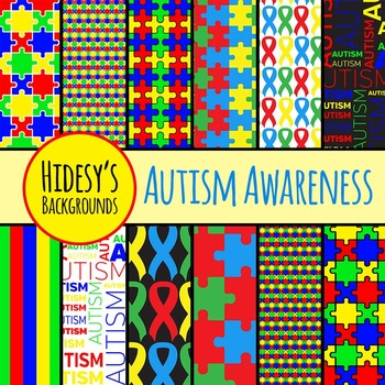 Autism Awareness Backgrounds / Digital Papers / Patters Co