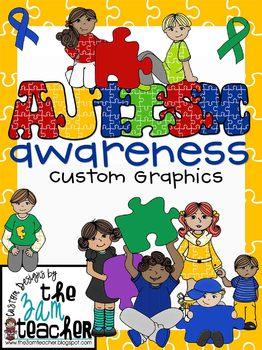 Autism Awareness Clip Art/Graphics: Set 1 (77 Graphics)