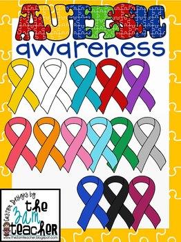 Autism Awareness Ribbons Clip Art/ Graphics