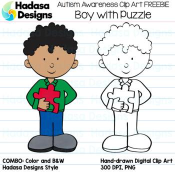 Hadasa Designs: Autism Awareness Clip Art FREEBIE - Boy wi