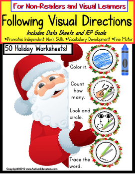 Autism: FOLLOWING VISUAL DIRECTIONS HOLIDAY Worksheets for