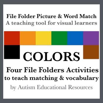Four Autism File Folder Activities - Picture & Word Match, Colors