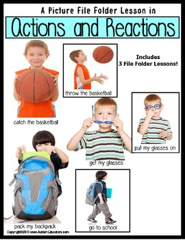Autism: File Folder Lessons (SET OF 3): ACTIONS and REACTI