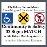 Community & Safety Signs File Folder Match