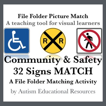 Autism File Folder Picture Match - 32 Community & Safety Signs