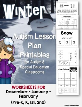 Autism Lesson Plan Printables for Autism Support Classroom