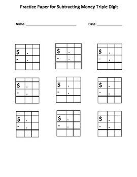 Subtracting Money: Autism Math: Blank Practice Sheet for