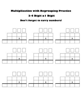 Multiply Up to 4 Digits x 1 Digit Blank Worksheet Multiplication