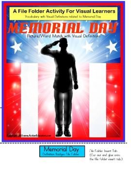 Autism Memorial Day Picture/Word Vocabulary File Folder Activity