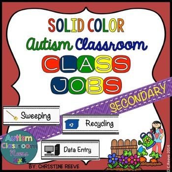 Autism Middle & High School Classroom Jobs*Solid Colors (S