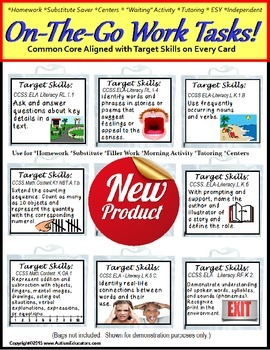 Autism ON THE GO Work Task Cards LARGE with Target Skills/