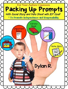 Autism PACKING UP ROUTINE VISUAL PROMPTS with Social Story