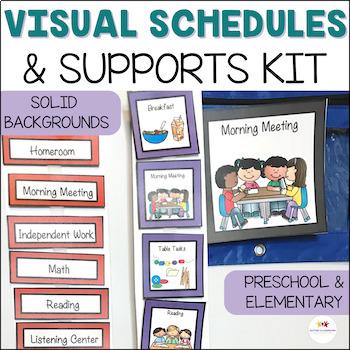 Autism Pre-K - Elementary Classroom Visual Bundle Solid Co