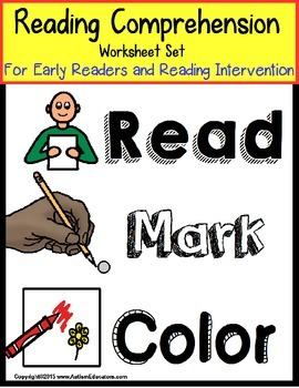 Autism READING COMPREHENSION WORKSHEETS with DATA for Earl