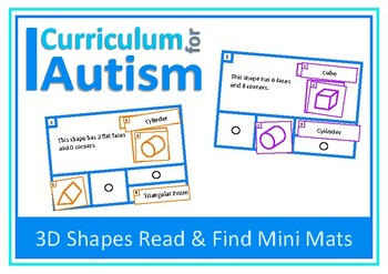 3D Shapes Matching Task Cards, Autism & Special Education