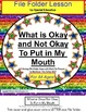 Autism Social Story: Okay/Not Okay To Put In Mouth (Data/F