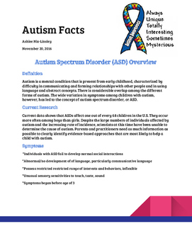 Autism Spectrum Disorder Facts Sheet