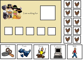 Autism:  Thanksgiving Token Board