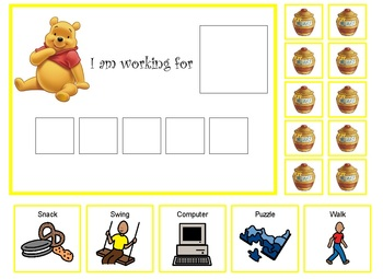 Autism:  Winnie the Pooh token board