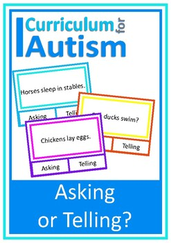 Asking or Telling Reading Comprehension Cards, Autism Spec