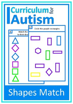 Autism Matching Sorting Shapes, Special Education, ABA, Vi