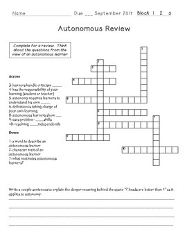 Autonomy Crossword Review