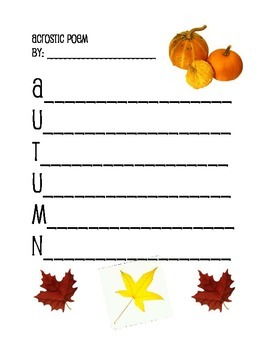 Autumn Acrostic Poem ~ Fall/October/Poetry