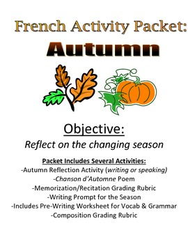 Autumn Activity Packet for French Students