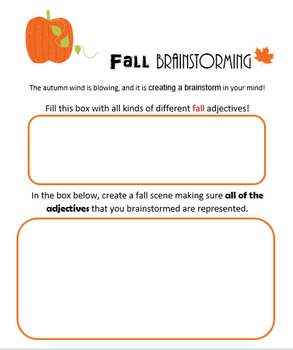 Autumn Adjective Brainstorming Activity