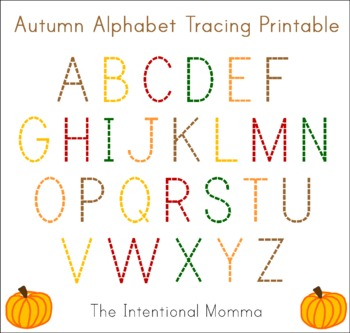 Autumn Alphabet Tracing Printable (1 page)